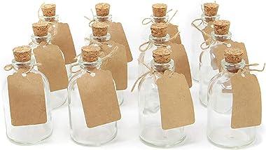 casavetro - Juego de 12 jarrones pequeños (filamentos de 50 TR, Botes de Cristal, decoración), diseño de Flores, Vidrio, Blan