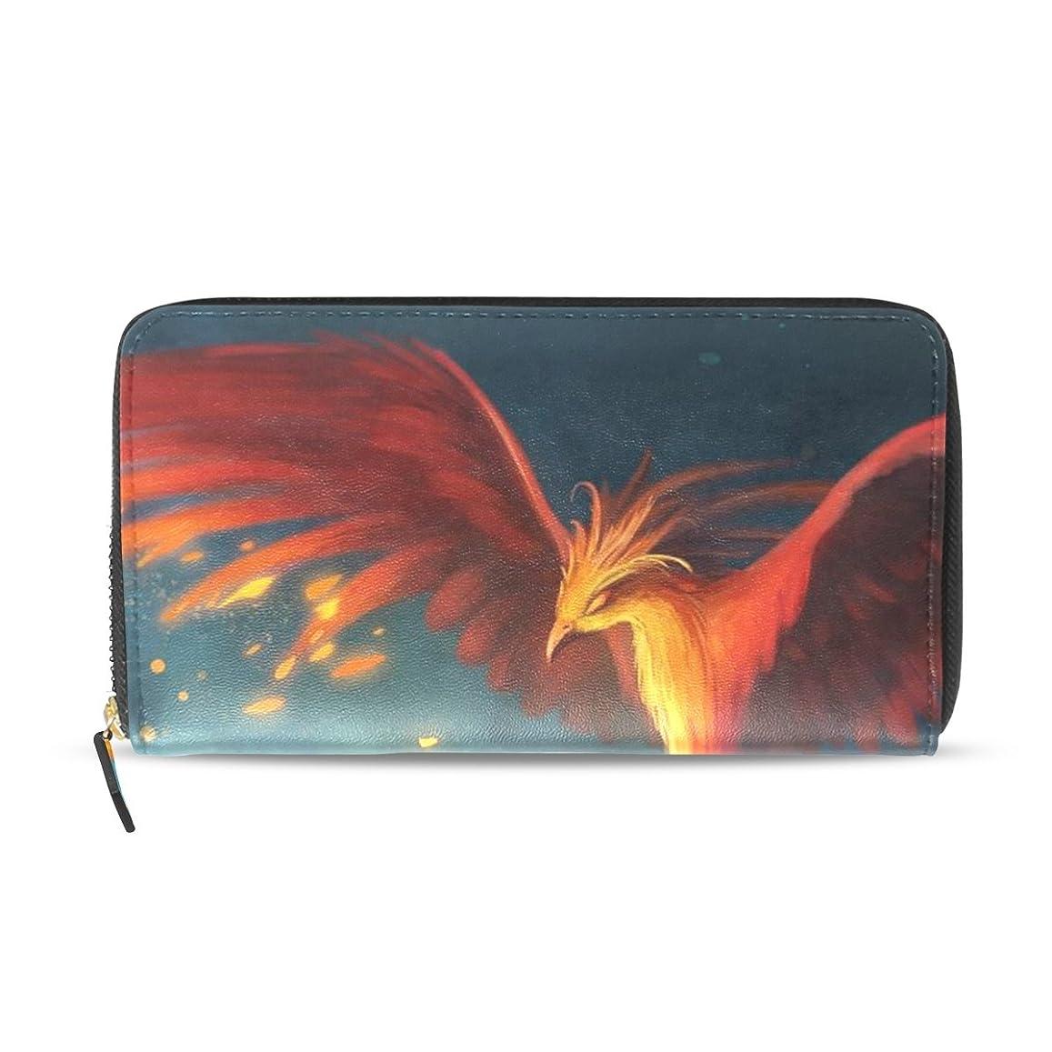 メンタリティ寝室を掃除する効率レディース鳥アートフェニックスパターン長い財布&財布ケースカードホルダー