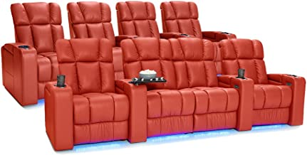 Palliser Collingwood Leather Home Theater Seating Power Recline with Adjustable Powered Headrests, Row of 4 and Row of 4 with Middle Loveseat, Red