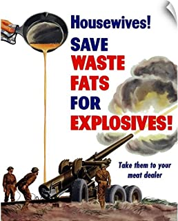 CANVAS ON DEMAND World War II Poster of Grease from a Frying pan Being Poured into a Firing Artillery Gun Wall P.