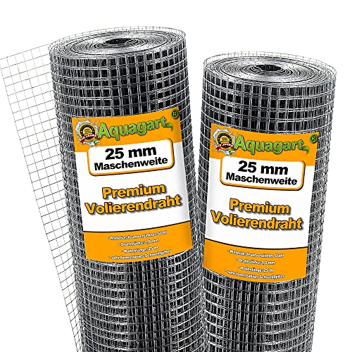 Aquagart® Volierendraht Hasendraht 25m x 1m, Drahtgitter Maschenweite 25mm, verzinkter Maschendraht-Zaun, robustes Schweißgitter