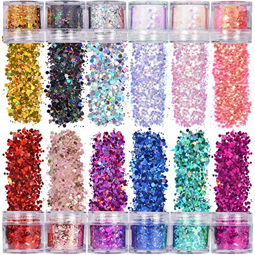 ANDERK Face Glitter Chunky Glitters, 12 Boxes 20ml Hexagon Shape Sequins Iridescent Flakes Colorful Mixed Paillette Makeup Face Body Hair Nail Art Decoration