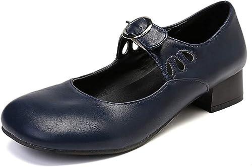 gracosy Mocassins Cuir Femme Ballerines Mary Jane /à Talons Bride Cheville Boucle Chaussures de Ville Automne Hiver /Élegantes Noires Rouge Marron