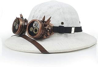 Steampunk Glasses Toquilla Straw Helmet Pith Sun Hats For Men Vietnam War Army Hat Dad Boater Bucket Hats Safari Jungle Mi...