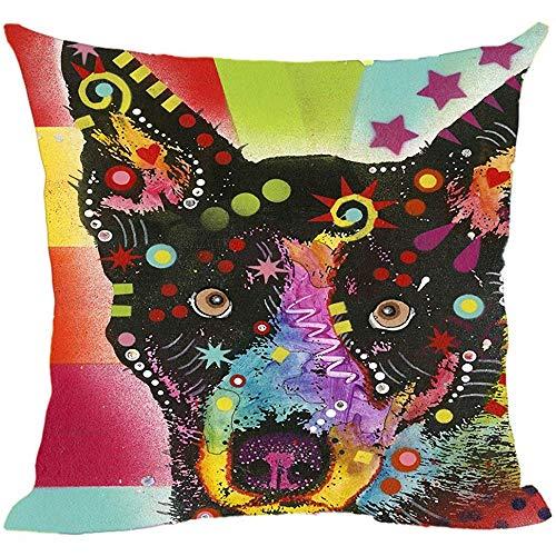 QDAS Leuke blauwe Heeler-kussenslopen gemaakt kleurrijke dier-sofabed decoratieve kussenslopen kunst hondenmand, kussenslopen voor cadeau.