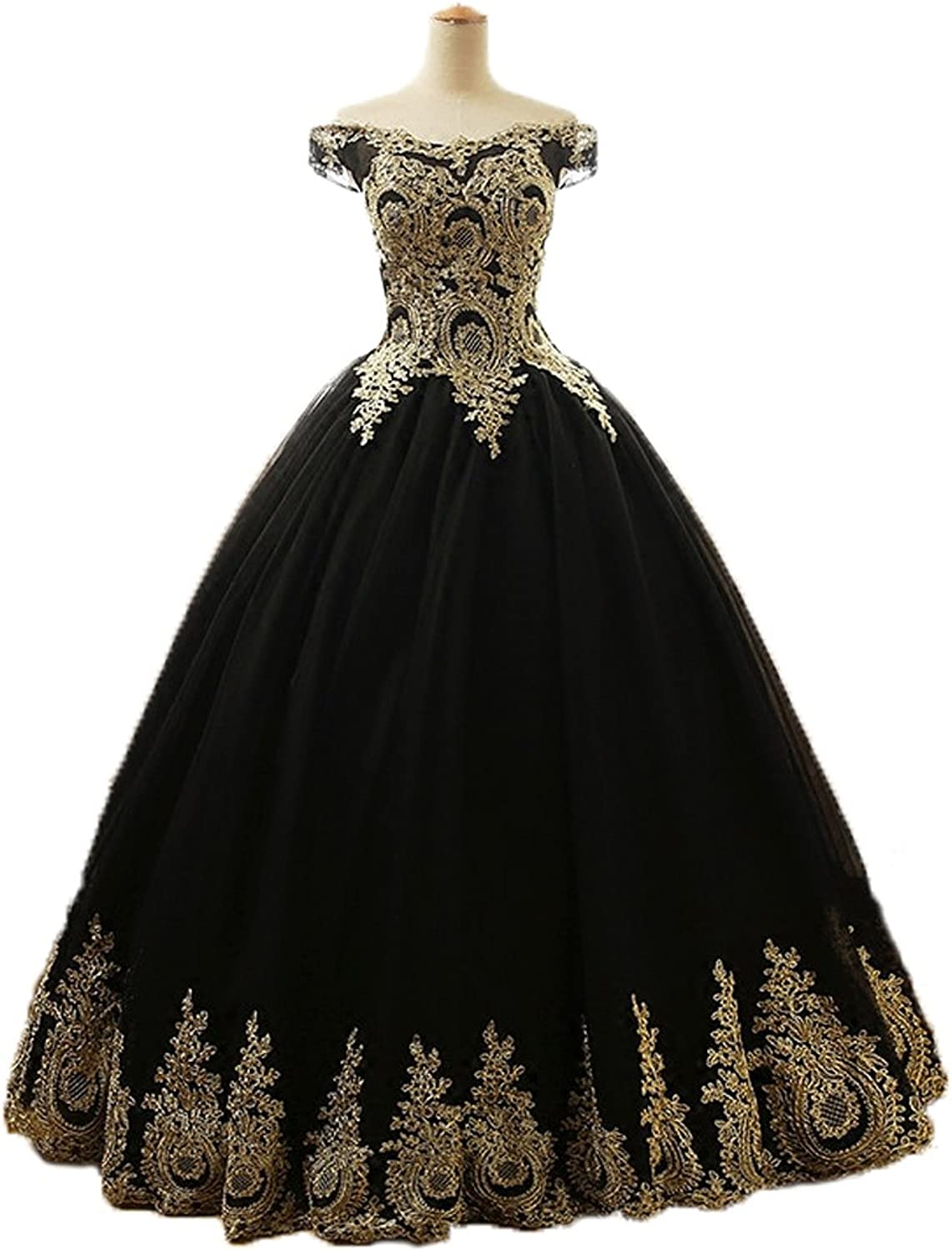 Graceprom gold Lace Appliques Quinceanera Dress Black Ball Gown Prom Dress