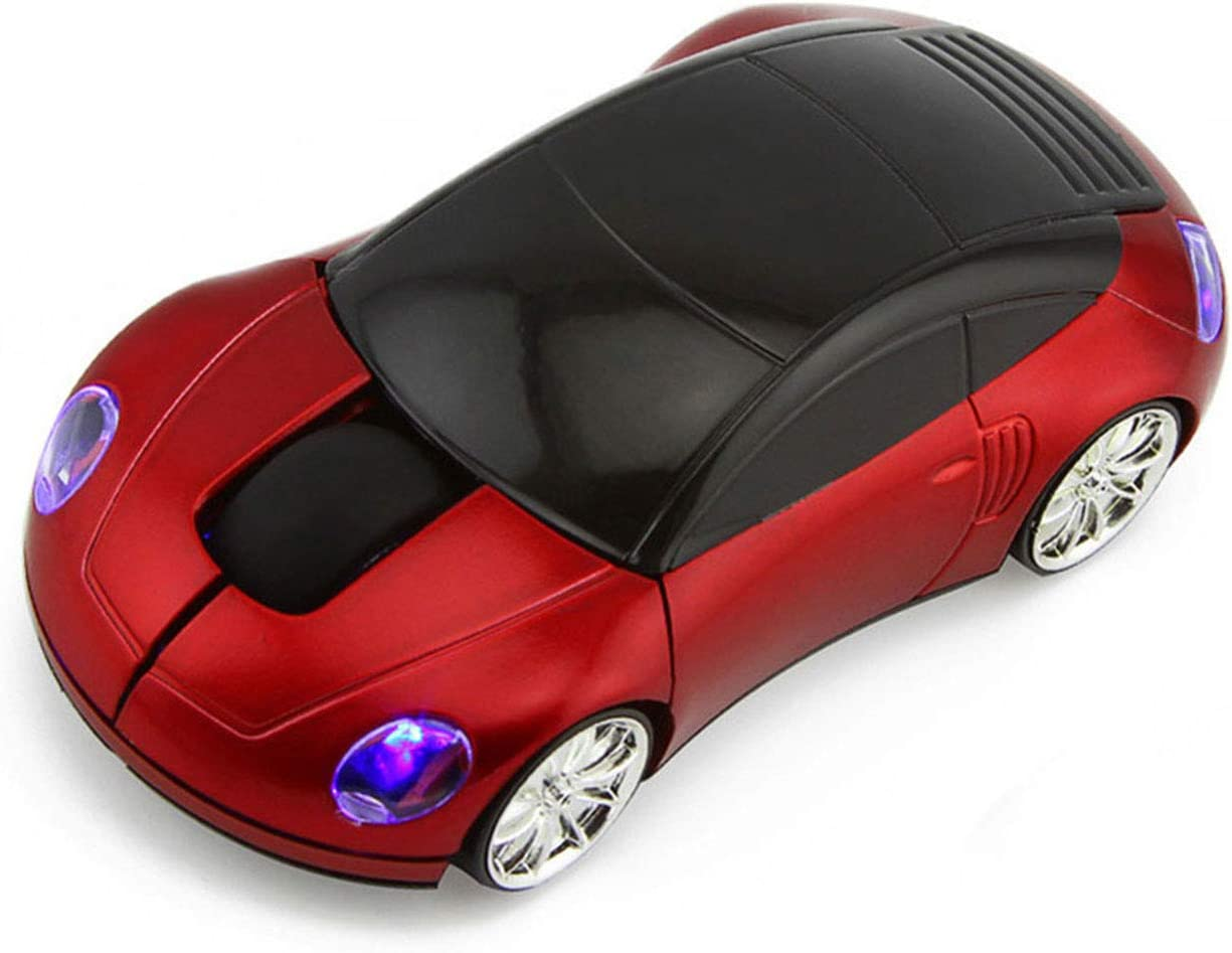 CHUYI 2.4GHz 3D Car Shape Wireless Optical Mouse Office Mouse USB Office Mouse with Receiver for PC Laptop (Red)
