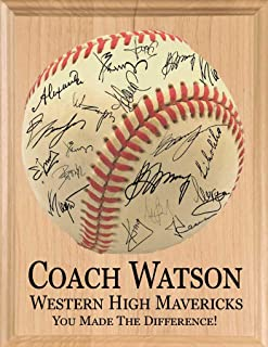 Broad Bay Baseball Coach Gift SIGNABLE Personalized Coaches Plaque for Team Signatures & Thank You Notes