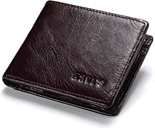 Mens Leather Bag Antimagnetic Wallet Men's Fashion Multi-Card Wallet Small Change Bag (Color : Brown, Size : S)