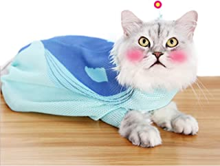 Yu-Xiang Blue Whale Cat Washing Bag Mesh Cats Grooming Bags Breathable Pet Shower for Bath Nail Trimming (Blue Whale)