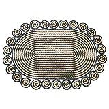 PTY Hand Geflochten Teppich Oval geflochtener Juteteppich, handgewebter Wende-Teppich, geeignet für...