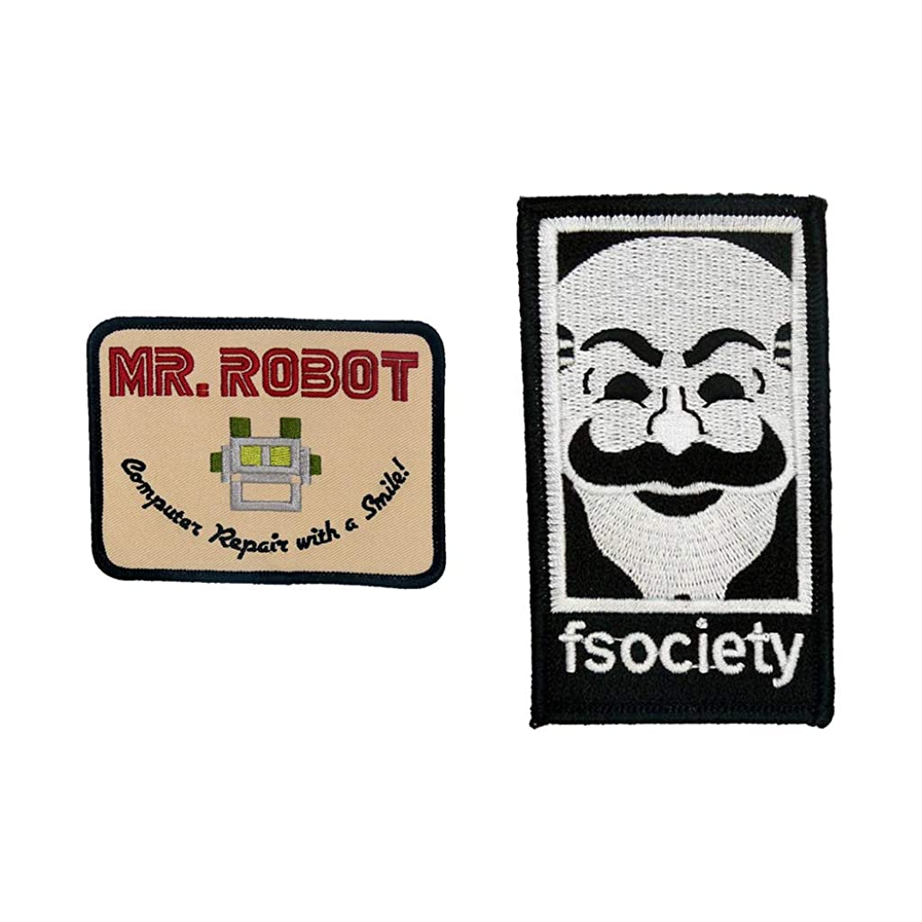 MR Robot FSOCIETY TV Series Show Embroidery SET of 2 Patches beige Halloween costume Badge Shirt Jacket Cap Hat Geek Gift Easy Iron/Sew On