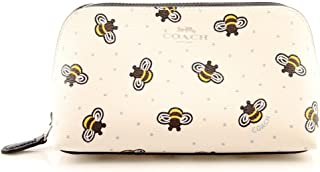 Coach Bumble Bee Print Leather Cosmetic Pencil Travel Clutch Case