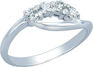 Women's 18K White Gold Modified Half Eternity Ring Featuring 4 0.24ct Round Brilliant Cut Shared-Prong Set Diamonds