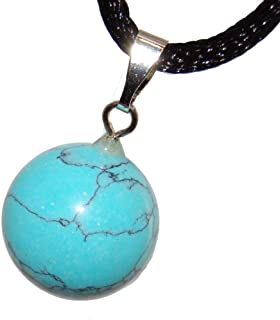 Steampunkers USA Celestial Collection - 14mm Moon Sphere Ball Turquoise Blue - 20-22 Inch قابل تنظیم سیم بند ناف - Crystal Gemstone Collectibles تراشیده گردنبند دست ساز جذابیت