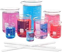 لیوان ظرفشویی شیشه ای SUPERLELE 8pcs 25/50/100/200/250/400/500 / 1000ml ، شیشه بورسیلیکات با ظرفیت چند برابر ، بشقاب اندازه گیری نوع دیواره ضخیم با فرم کم