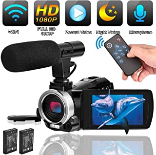Camcorder Video Camera with Microphone Weton WiFi Vlogging Camera for YouTube Digital Camera Recorder Full HD 1080P 24.0MP 30FPS IR Night Vision Camera 16X Digital Zoom with 2 Batteries and HDMI Cable