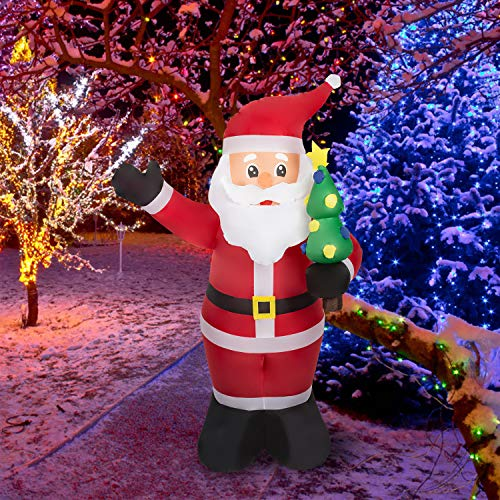 Kinsunny 8 Ft Christmas Inflatables Santa Decoration with Tree Air Blown Lights Decor Home Indoor Outdoor Yard Lawn Decoration