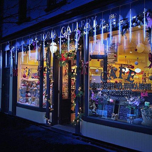 Guirnalda Luces Exterior, 10 Tubo 30cm 300 LEDs IP65 Impermeable luz Navidad, Impermeable Iluminacion Jardin Decorativas Fiestas (30cm Azul)