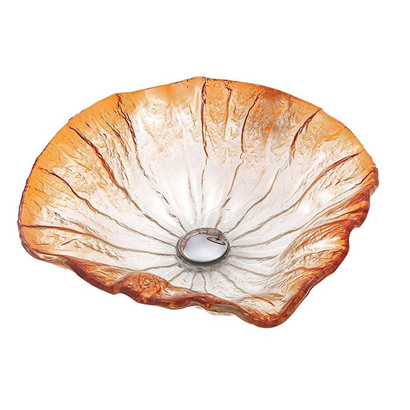 誰か救出宣伝洗面ボウル 強化ガラス製 不規則な花びらの形カウンタートップ設置 洗面器 バスルーム 排水金具付,Maple leaf