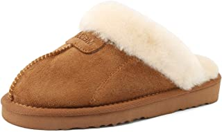 MEISUS Slipper for Women with The Integration of Wool and Sheepskin Suede Fluffy Slipper with EVA Skid Resistance