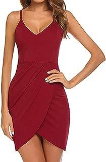 Women's V Neck Black Adjustable Spaghetti Straps Evening Cocktail Dress