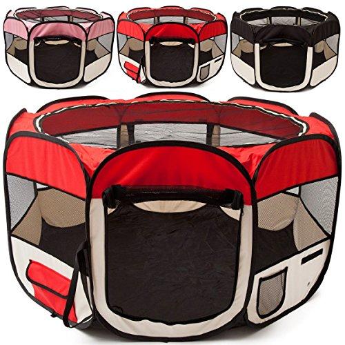all Pets United Welpen-Laufstall Tierlaufstall Welpenauslauf-Stall; XXL Freigehege für Hunde, Katzen, Hasen & Kleintiere im Innen- und Außenbereich (Rot)