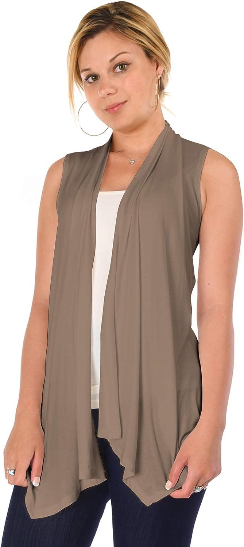 DFF Shop Women's Lightweight Open Drape Sleeveless Cardigan Vest (Size: S - 5X)
