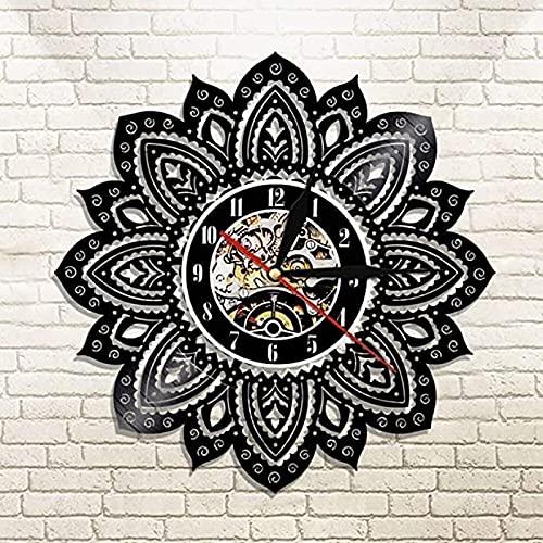Mandala Forma de Loto Diseño Moderno Silueta Flor Disco de Vinilo Reloj de Pared Decoración del hogar Reloj de Pared Reloj de Pared Arte sin LED