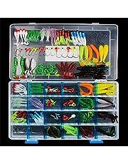 CHAWHO Kit de señuelos de Pesca - Juego de cebos para Peces con anzuelos, manivelas, anzuelos, Gusanos de plástico, señuelos de Superficie, Caja de Aparejos y Otros Juegos de señuelos de Pesca