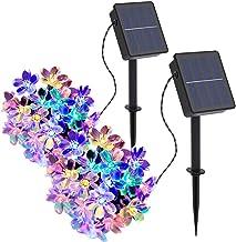 Solar Strings Lights 2 Pack, Outdoor Solar Flower String Lights 23ft 50 LED Waterproof Garden Lights for Garden Decoration...