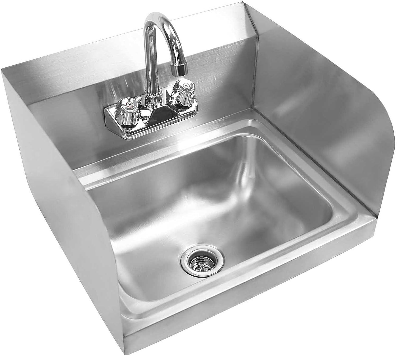 Gridmann Commercial NSF Edelstahl Spüle mit Wasserhahn & sidesplashes–Wandhalterung Hand Waschbecken