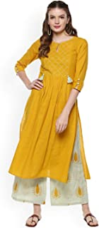 Women Mustard Yellow Solid 3/4 Sleeve Cotton Kurta with Palazzos