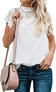 Women Cute Lace Blouse Top Short Sleeve Lace Hollow Out Turtle Neck T Shirt