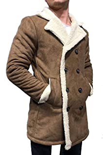 Mens Autumn Insulated Full-Zip Windproof Sherpa Lined Suede Leather Trucker Jacket