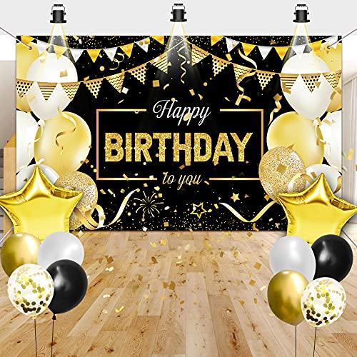 Geburtstag Dekoration Banner Geburtstag Hintergrund mit Luftballons Metallic Gold Schwarz Ballons,Schwarzes und Gold Geburtstag Frau Dekoration für Männer Frauen der Geburtstagsfeier,Party Deko