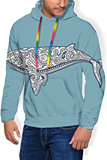 GULTMEE Men's Hoodies Sweatershirt, Whale Lettering with Totem and Antique Paisley Pattern,5 Size