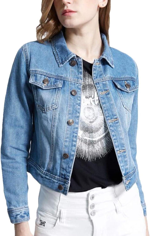 BU2H Women Fashion Casual Slim Washed Classic Denim Jacket Coat Outwear