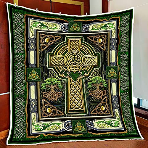 Irish Celtic Claddagh Cross Quilts Blanket Twin, Queen, King, Super King Size Best Decorative for Bedroom Living Room Home Decor