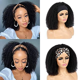 TNICE Afro Curly Headband Wig for Black Women Afro Kinky Curly Human Hair Wigs with Headband Glueless None Lace Front Mach...