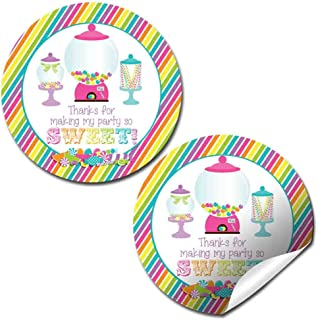 Candy & Sweet Shop Birthday Party Thank You Sticker Labels, 40 2