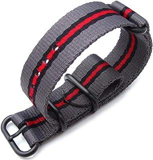 Cinturino MiLTAT 20mm, 22mm o 24mm 3 anelli Zulu JB cinturino militare cinturino in nylon balistico - grigio, nero e ross...