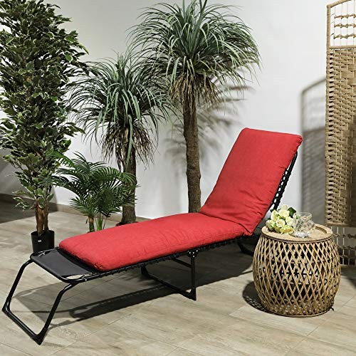 TIENDA EURASIA® Cojín para Tumbona de Jardín - 10 Colores - Cojín Acolchado Relleno de Fibra - Medidas 180 x 50 x10 cm (Rojo)