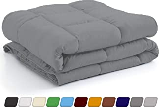 New York Mercado Luxury Smooth and Silky Comforter with 500 GSM Ultra Soft Brushed 100% Egyptian Cotton Modern Designed 600 Thread Count (Twin, Elephant Grey)