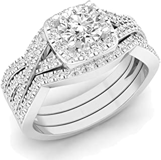 Dazzlingrock Collection 2.05 Carat (ctw) 10K Gold Round Cubic Zirconia Engagement Ring with Double Band Set 2 CT