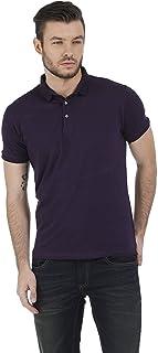 BASICS Muscle Fit Purple Lycra Polo T Shirt