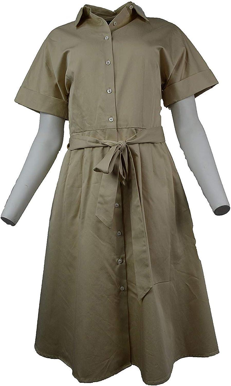 Brooks Bredhers Womens Beige Cotton Shirt Belt Dress
