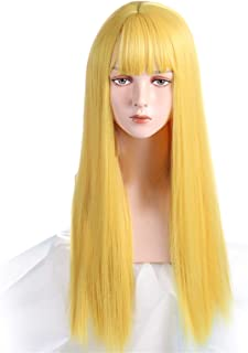 Hairpieces Cosplay Wig with Bangs Synthetic Straight Hair 24 Inch Long Heat-Resistant Pink Wig for Women Hair Extensions (...