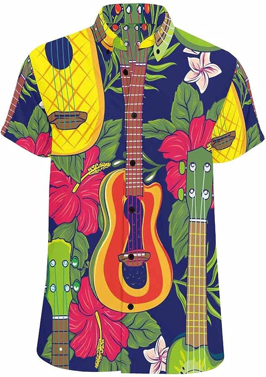 InterestPrint Hawaii Surfing Pattern Men's Spread Collar Tops Short Sleeve Printed Button Shirt