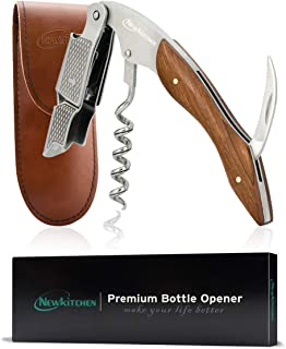 Corkscrew Wine Opener Wine Bottle Opener with Foil Cutter Professional Wine Key for Sommeliers Waiters and Bartenders Rosewood Handle Leather Sheath Gift Pack